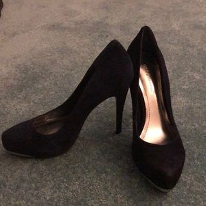 Dark Blue Suede Heels